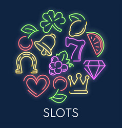 slot machine casino gambling games neon symbols vector image