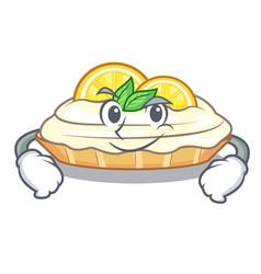 Smirking cartoon lemon cake with lemon slice vector