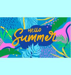 summer web banner colorful botanical elements vector image