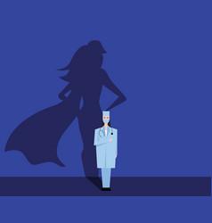 super woman doctor or nurse hospitals superhero vector image