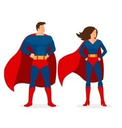 Superhero couple flat superman and superwoman vector