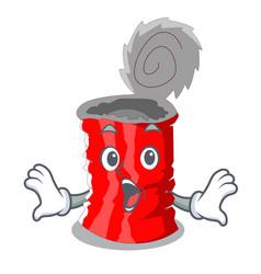 Surprised set metallic tin can cartoon vector