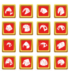 Tent forms icons set red square vector