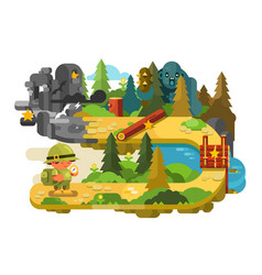 Travelers adventures on forest trail flat design vector