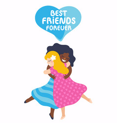two best friends girls huging vector image