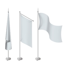 Various white flags and banners pictograms vector image