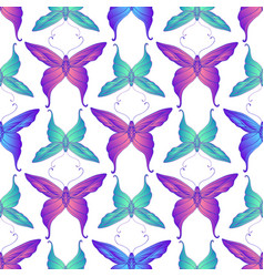 vintage vivid butterfly seamless pattern bright vector image