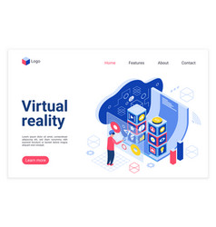 vr technology landing page template vector image