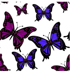 watercolor blue butterflies on a white background vector image