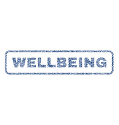 Wellbeing textile stamp vector