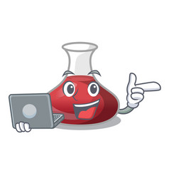 With laptop character glass decanter with red wine vector