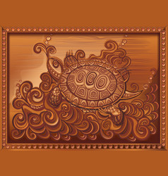 woodcarving turtle carved on the board vector image