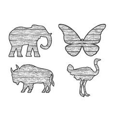 wooden animals set silhouette sketch vector image