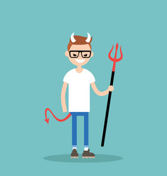 Young character wearing devil elements horns tail vector