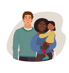 young family african-american mom white dad vector image