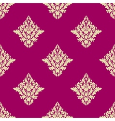 Delicate beige floral seamless pattern on hot pink vector image