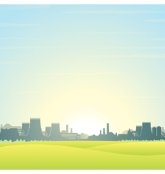 Eco Friendly Nuclear Plant Landscape vector image vector image