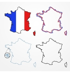 France silhouette set vector image vector image