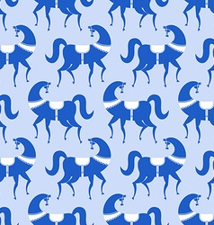 horse Gzhel painted seamless pattern Russian vector image
