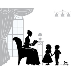 Mom reading book vector image vector image
