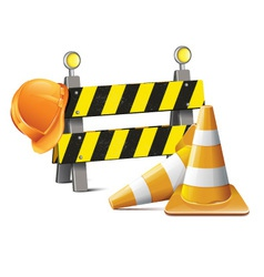 Road Barrier With Hard Hat And Traffic Cone vector image vector image