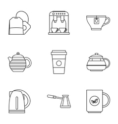 Types of drinks icons set outline style vector image
