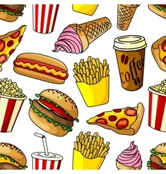 Fast food snacks seamless pattern vector image