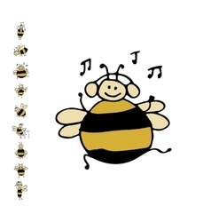 Funny dance bee sketch for your design vector image vector image