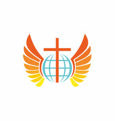 globe cross and wings vector image vector image