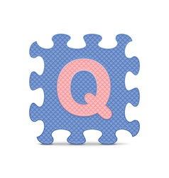 letter Q written with alphabet puzzle vector image