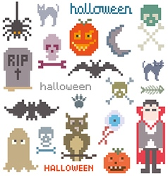 Set of icons on halloween theme vector image vector image