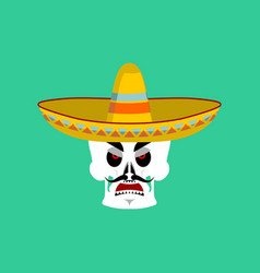 skull in sombrero angry emoji mexican skeleton vector image