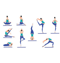 colorful yoga poses set vector image vector image