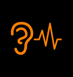 Ear hearing sound sign orange icon on black vector