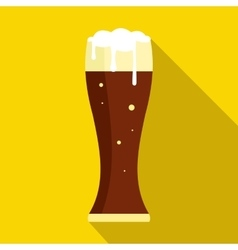 Glass of dark beer icon flat style vector image