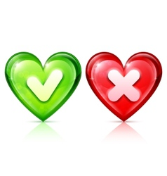 Heart shapes with tick and cross vector image vector image