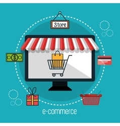 monitor store e-commerce isolated design vector image