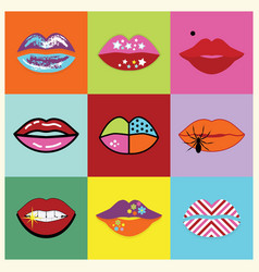 retro assorted and colorful pop art women lips vector image vector image