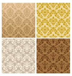 seamless damask pattern set vector image