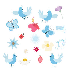 set of birds flowers and butterflies vector image vector image