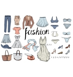 Set of evening woman clothes objects on white vector