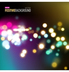 Abstract city background with bokeh lights vector image