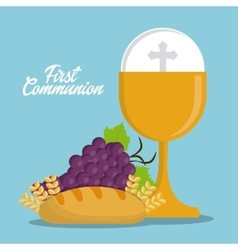 cup bread grapes gold religion icon vector image