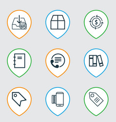 Set of 9 commerce icons includes withdraw money vector