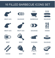 16 barbecue icons vector