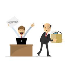 A businessman get a promotion vector