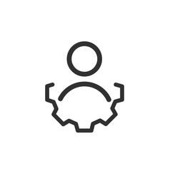 Account settings symbol user with gear wheel line vector