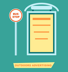advertising board on bus stop poster vector image