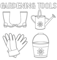 black and white garden watering 4 elements set vector image