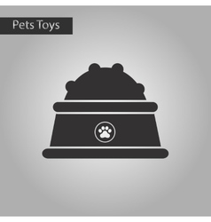 Black and white style icon dog food bowl vector